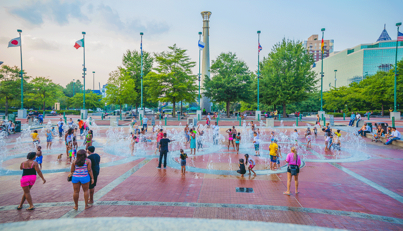 Downtown Atlanta's Centennial Olympic Park, one of the most prominent legacies of the 1996 Olympic Games. Photo by Kendrick Disch