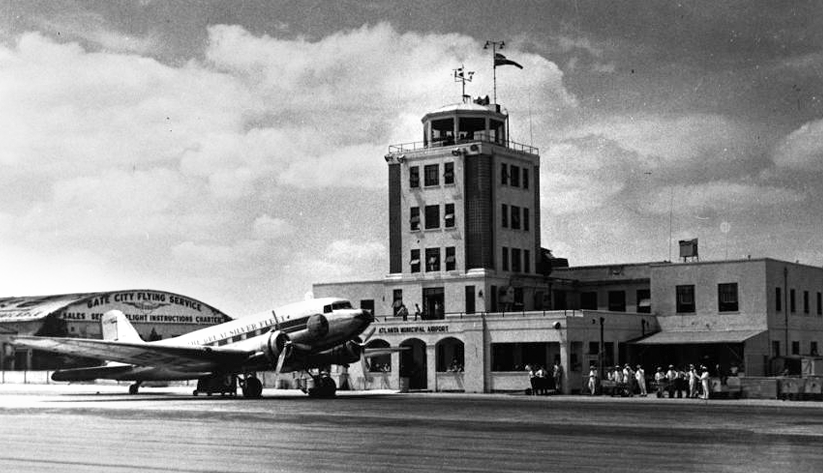 "In 1958, a plane in Eastern Air Lines's ""Great Silver Fleet"" at Atlanta Municipal Airport. Photo courtesy the Special Collections and Archives, Georgia State University Library"