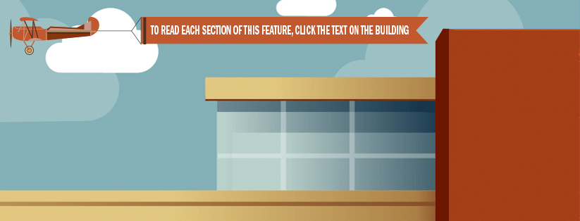 To read each section of this feature, click the text on the building.