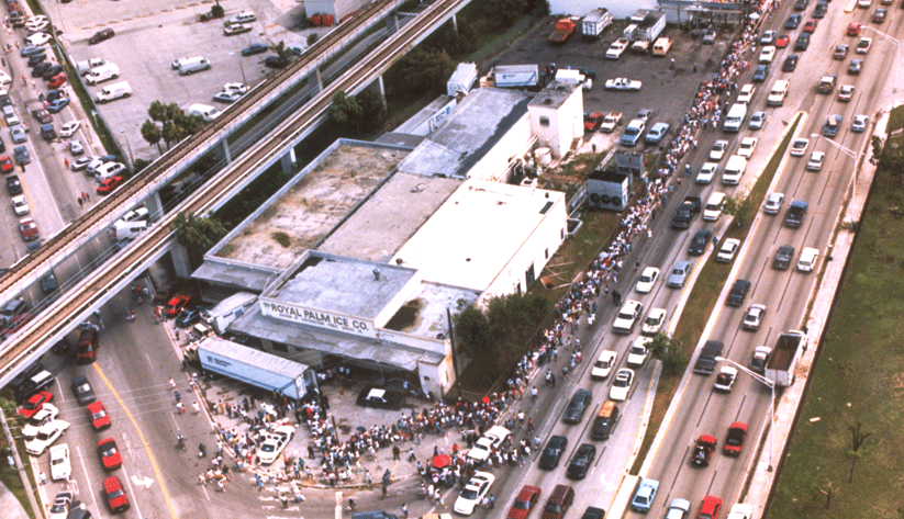 In Hurricane Andrew's aftermath, disaster victims in Dade County, Florida, line up to receive ice. Photo by Bob Epstein and courtesy of the Federal Emergency Management Agency