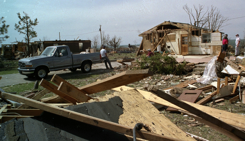 Another scene of residential destruction from August 24, 1992, in Dade County, Florida. Photo by Bob Epstein and courtesy of the Federal Emergency Management Agency