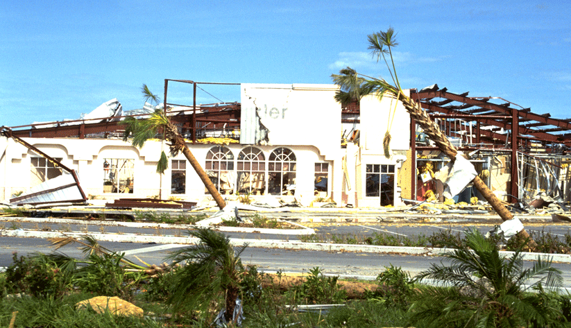 Commercial real estate in Dade County, Florida, also experienced Hurricane Andrew's fury. Photo by Bob Epstein and courtesy of the Federal Emergency Management Agency