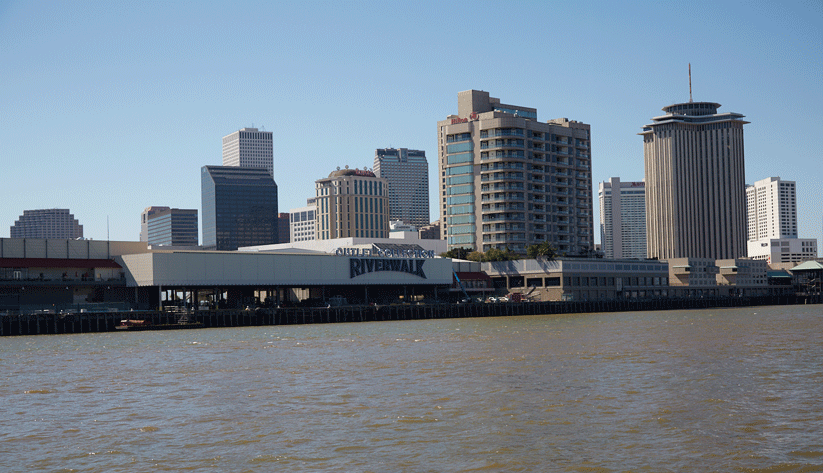 A view of downtown New Orleans from the Mississippi River. Photo by David Fine