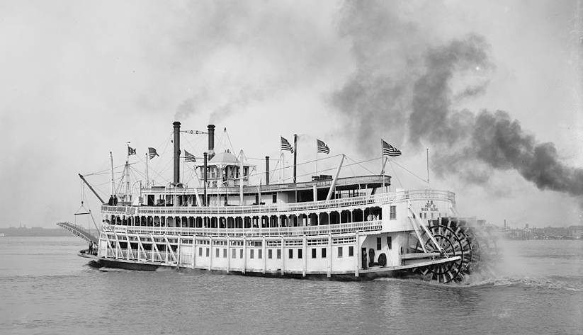 A steamboat on the Mississippi River outside New Orleans, ca. 1910. Photo courtesy of the Library of Congress photographic archives