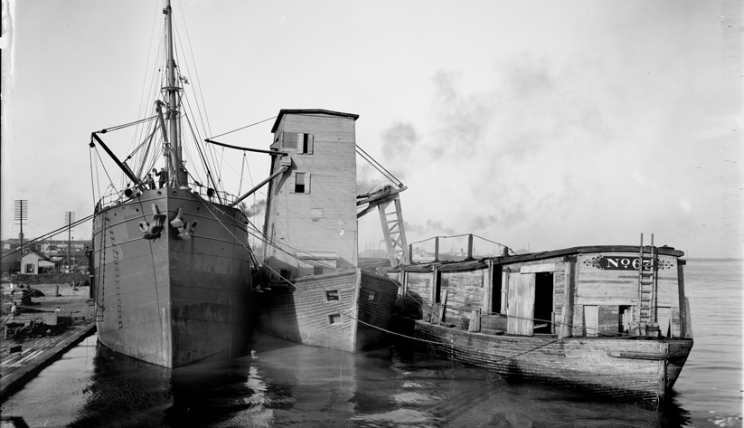 A steamship loading grain from a floating elevator in New Orleans, ca. 1900–06. Photo courtesy of the Library of Congress photographic archives