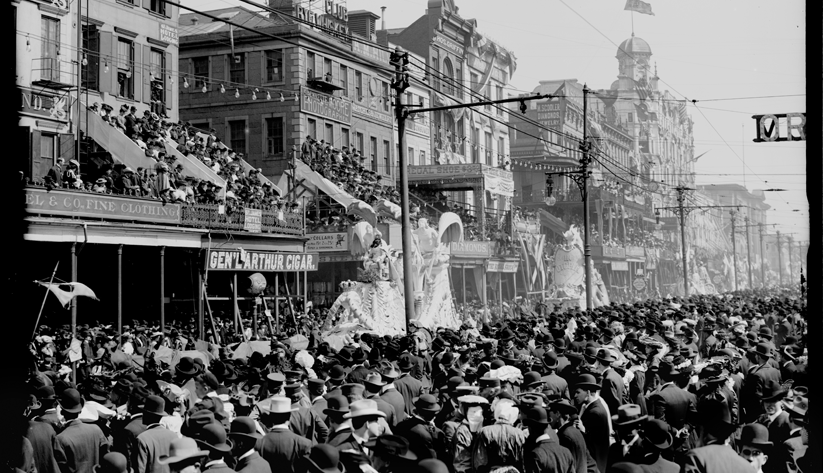 A scene from New Orleans's legendary Mardi Gras parade, ca. 1890–1910. Photo courtesy of the Library of Congress photographic archives