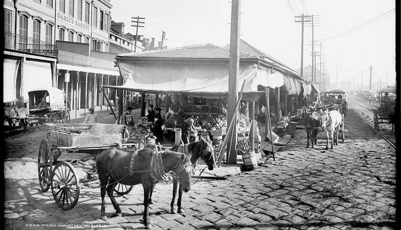 Shops in the French Market of New Orleans, ca. 1906. Photo courtesy of the Library of Congress photographic archives