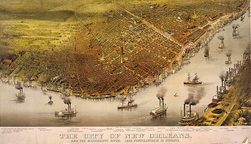 A birds-eye perspective on New Orleans ca. 1885, with the Mississippi River in the foreground. Image courtesy of the Library of Congress photographic archives