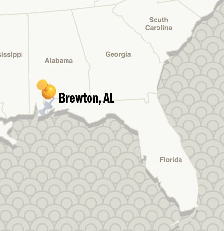 map showing the location of Brewton, Alabama