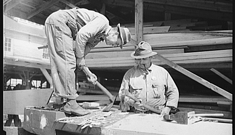 Jacksonville became a shipbuilding center during World War II. In 1942, two former house carpenters became shipbuilders as they worked on a minesweeper in a Jacksonville shipyard. Photo courtesy of the Library of Congress photographic archives