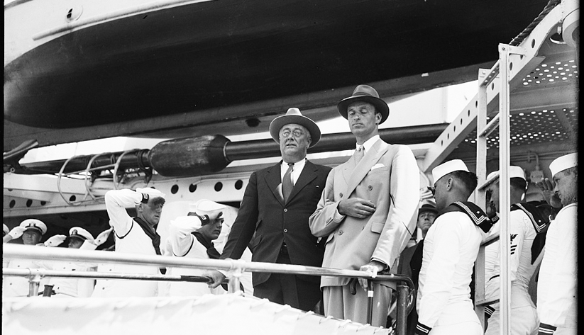 President Franklin D. Roosevelt and his son James aboard the USS Farragut in Jacksonville in 1935. Photo courtesy of the Library of Congress photographic archives