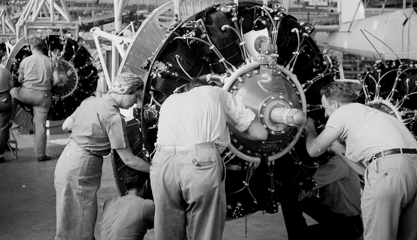 In the engine installation section of Nashville's Vultee Aircraft Company in 1942. Photo courtesy of the Library of Congress photographic archives