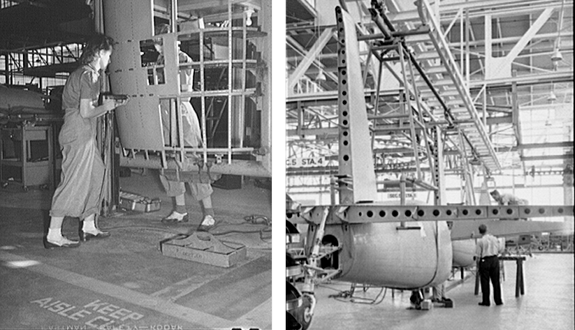 Workers assemble a fuselage in a Nashville factory in 1942. Photo courtesy of the Library of Congress photographic archives