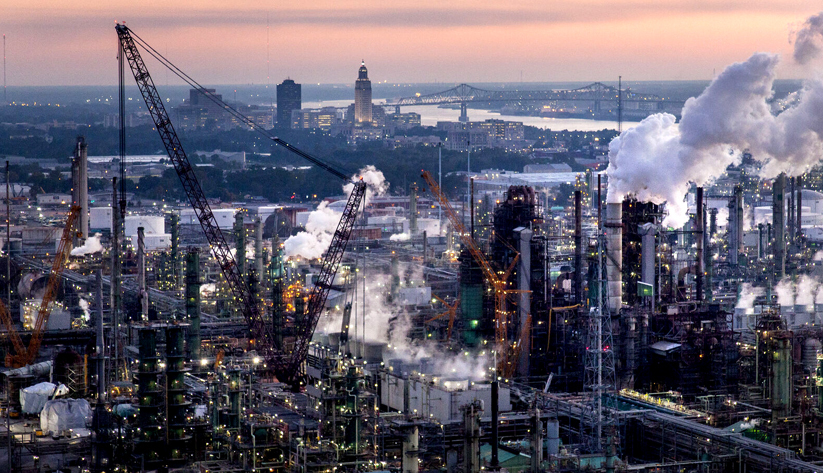 Louisiana is home to three of the nation's seven largest oil and gas refineries. The facilities were running at historically low capacity in the spring. Photo courtesy of ExxonMobil