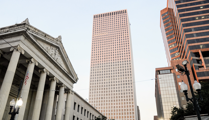 Hancock Whitney Center was named One Shell Square until 2017. Shell still leases space in the building, but many oil companies have moved corporate offices from New Orleans since the 1980s, to Houston in many cases. Photo courtesy of Wikimedia Commons