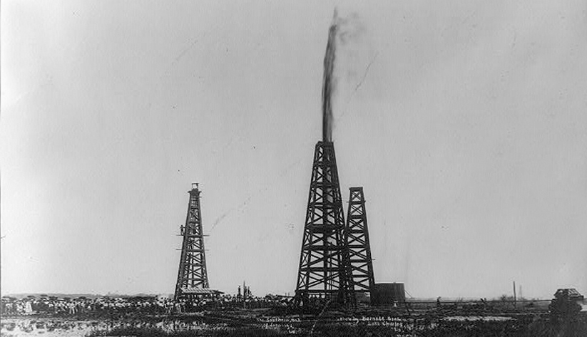 Oil was first struck in Louisiana in this field at Jennings. This image shows oil gushing from a well in 1902. Photo courtesy of the Library of Congress photographic archives
