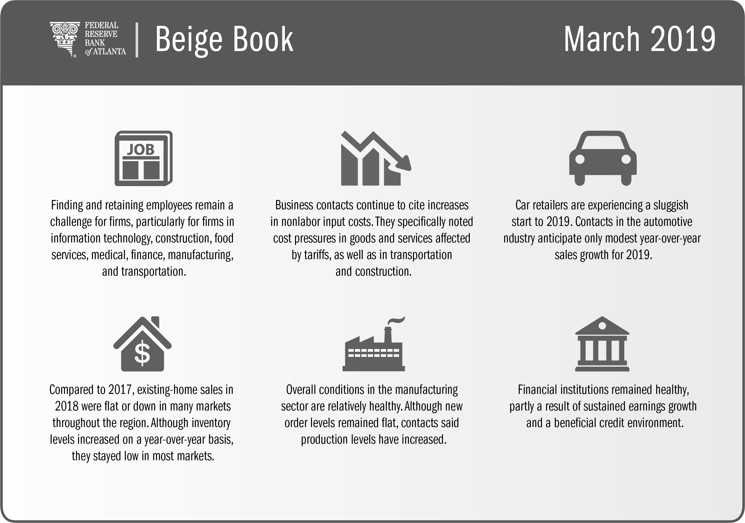 infographic with key findings on employee retention, input costs, and other details from the March 2019 Beige Book