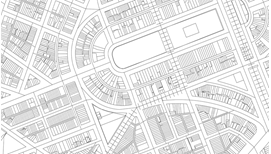 architectural-like illustration of neighborhood or development as viewed from above