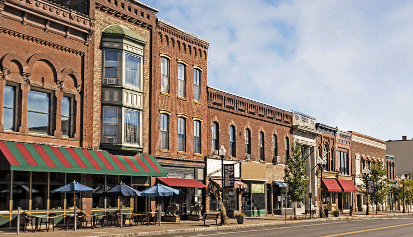 photograph of brickfront buildings on a small town street