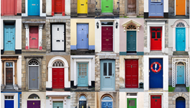 Image of different housing front doors