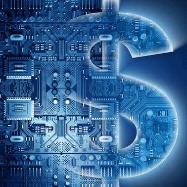 illustration of a dollar sign symbol overlaid with a circuit board from a computer