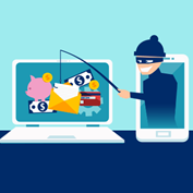 illustration of a thief emerging from a mobile device reaching into the screen of a laptop with a fishing pole