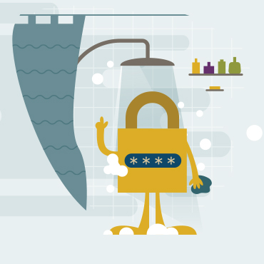 padlock taking shower with hidden password asterisks on its front