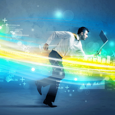 photo illustration of a man running with an open laptop through a rainbow-colored stream of data symbols