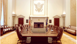 Board of Governors boardroom table viewed from the end