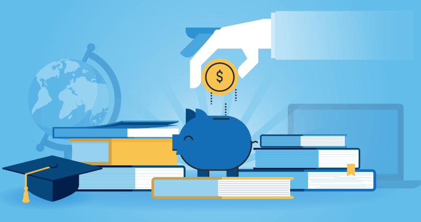illustration of a hand dropping a coin into a piggy bank with school textbooks, graduation cap, laptop, and globe in the background