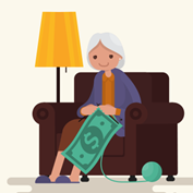 illustration of a cute grandma, sitting in an easy chair with her slippers on, knitting a large afghan-like dollar bill