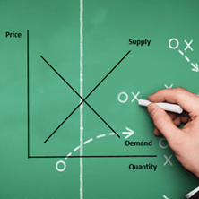 supply and demand graph displayed over a hand drawing a soccer field out of chalk