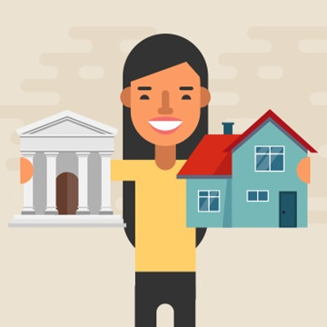 illustration of a young person embracing a bank with one arm and a house with other