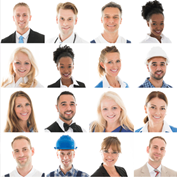 faces of a group of people in different types of jobs, in a grd, all facing the viewer