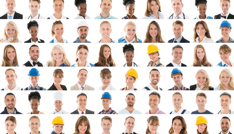 faces of a group of people in different types of jobs, in a grid, all facing the viewer