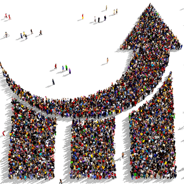 illustration of a large group of people forming a bar chart with an upward arrow