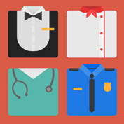 caricature illustration of shirts representing various types of professions