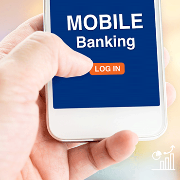 "hand pushing button called ""log in"" on a mobile phone touch interface below the words ""mobile banking"""