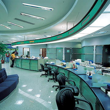 contemporary banking center lobby (appropriately) in hues of green