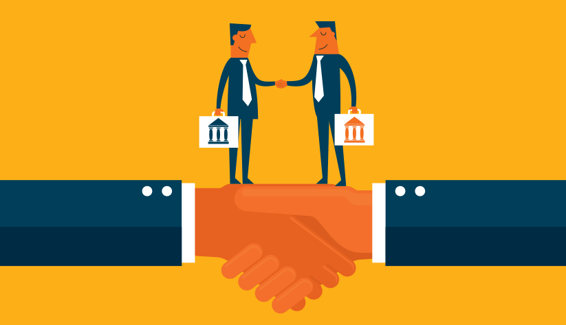 illustration of two bankers with briefcases shaking hands on top of a larger pair of shaking hands
