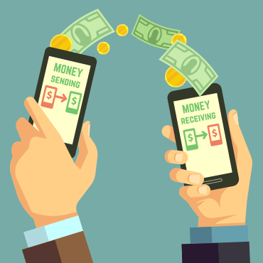 illustration of hands from two different people holding mobile phones between them, with currency bridging the two phones