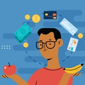 illustration of a man with glasses holding an apple and banana while icons of payment types circle around his head