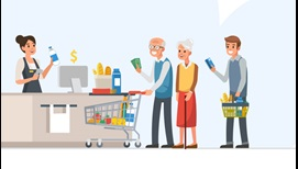 illustration of grocery store queue with senior in front with cash in hand