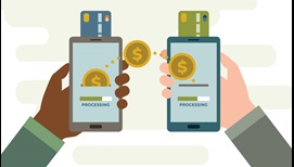 mirrored hands each with mobile device with credit card and gold coins processing
