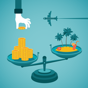 illustration of a set of scales with a hand placing a stack of coins on one side and a tropical island with a plane on the other side