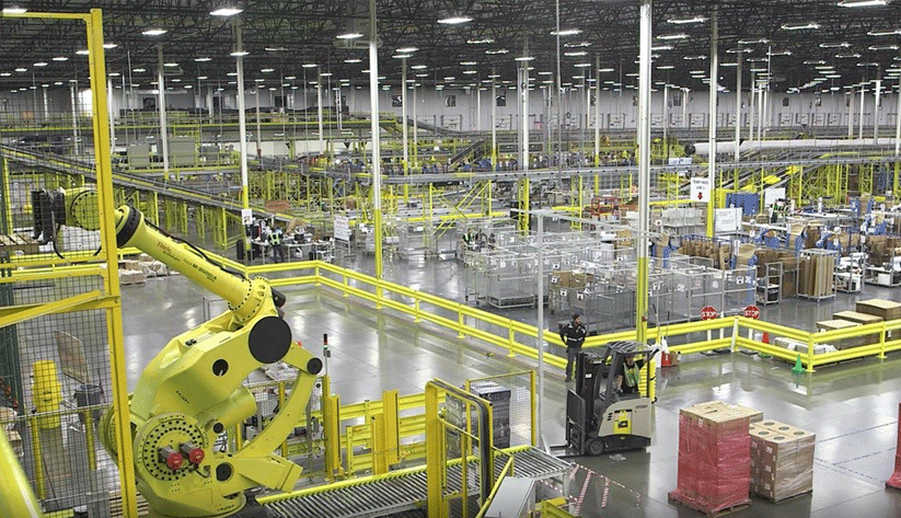 interior of large automated warehouse