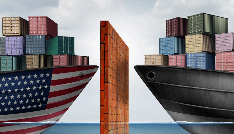 photo illustration of two container ships facing each other with a wall in between