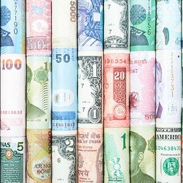 international paper currencies each rolled up