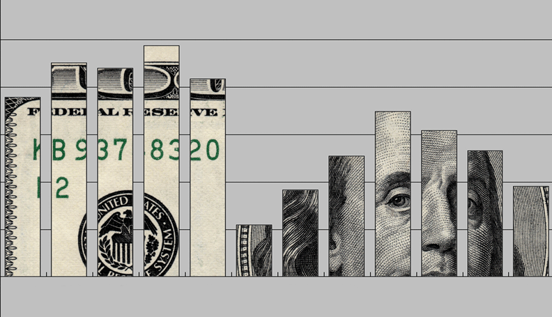 bar chart with $100 bill as the background