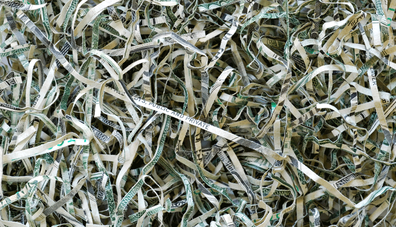 closeup of shredded United States currency